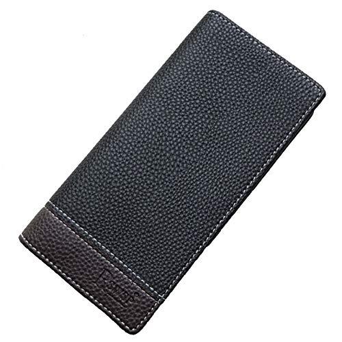 (R&S WHOLESALER Men's Bifold Leather Breast Pocket Card Holder Purse Suit Long Wallet Checkbook (Black-2))