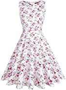 OTEN Women's Vintage 1950s Tea Dress Floral Spring Garden Party Rockabilly Cocktail Swing Dresses
