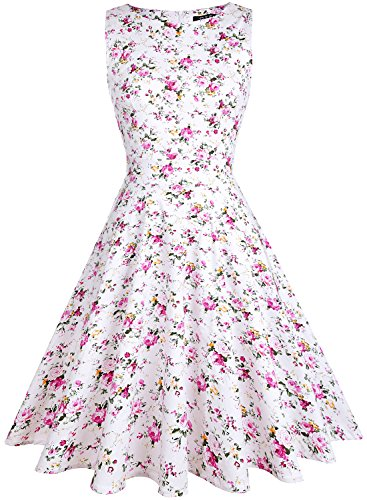 OTEN Women's Floral Print Wedding Party Prom Cocktail Vintage Dresses 1950s (Small, Pink Floral) ()