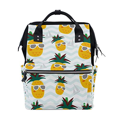 - ColourLife Diaper Bag Backpack Pineapples Wear Sunglass Casual Daypack Multi-Functional Nappy Bags