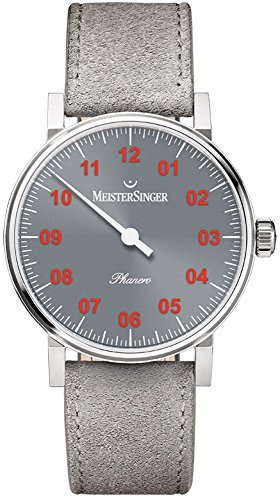 MeisterSinger Phanero Unisex Single-Hand Manual Wind Mechanical Watch - 35mm Analog Grey Face Unique Dress Watch - Grey Suede Leather Band Swiss Made Luxury Watch for Men or Women PH307R
