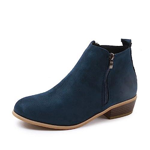 079cf1dab1f8 Boots Femme Talon Bottine Femmes Hiver Daim Cuir Bottes Chelsea Low Chic  Cheville Compensées Grande Taille