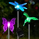 OxyLED Solar Garden Lights, 3 Pack Solar Stake Light, Color Changing Solar Powered Decorative Landscape Lighting Hummingbird Butterfly Dragonfly for Outdoor Path, Yard, Lawn, Halloween, Christmas