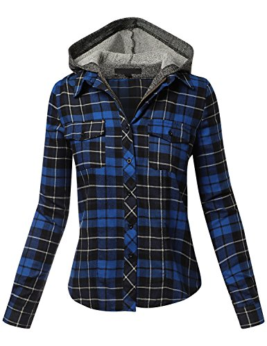 HATOPANTS Terry Mixed Long Sleeve Two Tone Hoodie Plaid Shirts Royal B (French Square Leg)