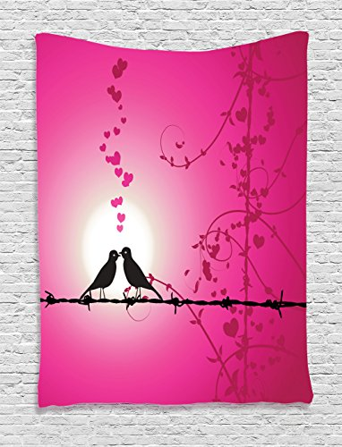 Ambesonne Barbed Wire Decor Collection, Love Birds Kissing on Barbed Chain Hearts Romantic Honeymoon Marriage Art, Bedroom Living Room Dorm Wall Hanging Tapestry, Magenta Pink (Love Bird Collection)