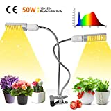 50W LED Grow Light,Growstar Sunlike Full Spectrum Grow Lamp,Dual Head 360 Degree Gooseneck Plant Light with Replaceable Bulb,Double Switch,for Indoor Seedling,Growing,and Fruiting