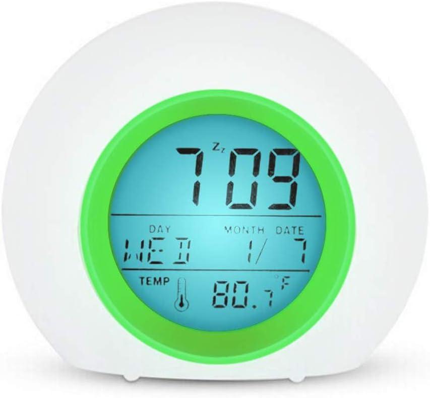 YUES Reloj Despertador Digital para niños con Calendario y termómetro, 7 Colores Cambio de luz con Control táctil Junto a la Cama (Verde)