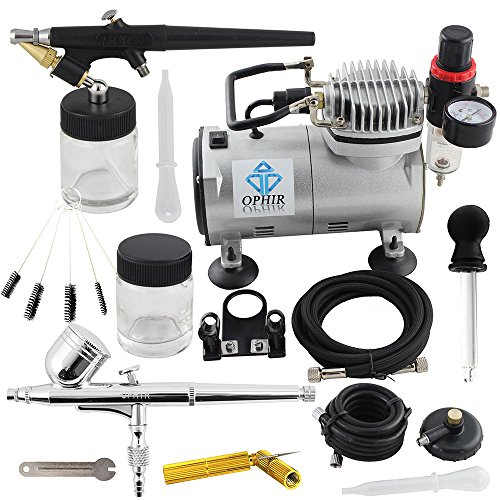 OPHIR 110V PRO Air Compressor with 2PCS Airbrush Kits & C...