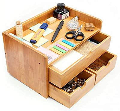100% Natural Bamboo Wood Shelf Organizer for Desk with Drawers — Mini Desk Storage for Office Supplies, Toiletries, Crafts, etc — Great for Desk, Vanity, Tabletop in Home or Office