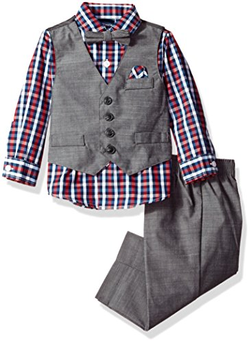 Nautica Boys' Set With Vest, Shirt, Pant, and Bow Tie, Dark Grey Chambray Tick, 18M