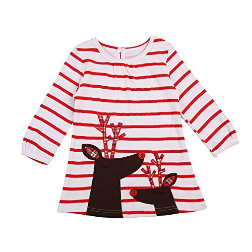 Toddler Little Girls' Dress Long Sleeve Red Striped Princess Christmas Dresses Blouse Tops (5-6Y, Red Strips) (Red Dresses For Little Girls)