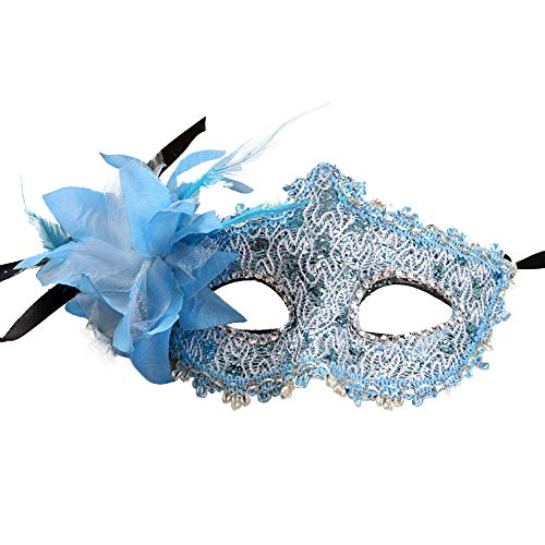 Shiny Masquerade Mask Women Venetian Pretty Party Evening Prom Mask for Masquerade Party Cosplay(Blue)