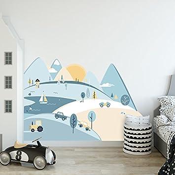 Attraktiv Wandtattoo Wandaufkleber Sticker Kinderzimmer 3D XXL Hellblaue Berge S    150x75 Cm Deko Natur Wandsticker Baby