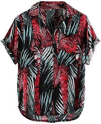 Berimaterry Camisa Hawaiana para Hombre Shirt de Manga Corta Estampados de Palmeras, Barcos, Flores, Regular Casual, Camiseta Bonita y Cómoda para ...