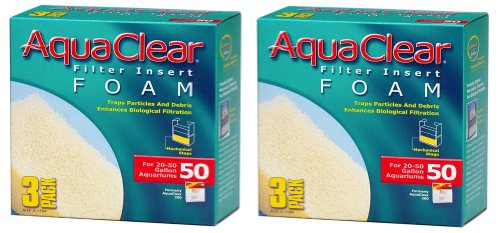 Aquaclear 20 Foam - Aquaclear Foam Inserts, 3-Pack (6-Pack, 50-Gallon)