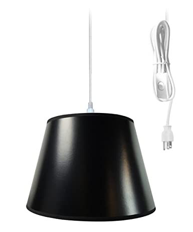 Plug in pendant light by home concept hanging swag lamp black parchment shade with