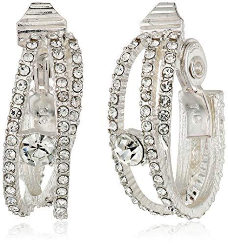 (Napier Women's Silver/Crystal EZ Comfort Clip Open Hoop Earrings)