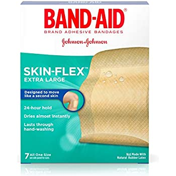 Band-Aid Brand Skin-Flex Adhesive Bandages for First Aid and Wound Care of Minor Cuts and Scrapes, Comfortable and Durable Second Skin Feeling, Extra Large Size, 7 ct