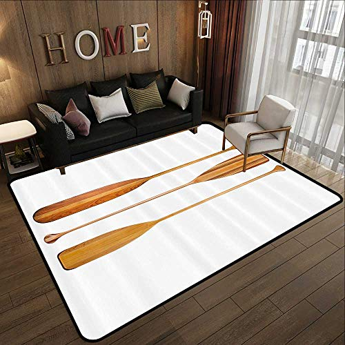 Contemporary Indoor Area Rugs,Oar,Three Traditional Wooden Canoe Paddles with Different Shape of Blades Exotic Sports,Sand Brown 63