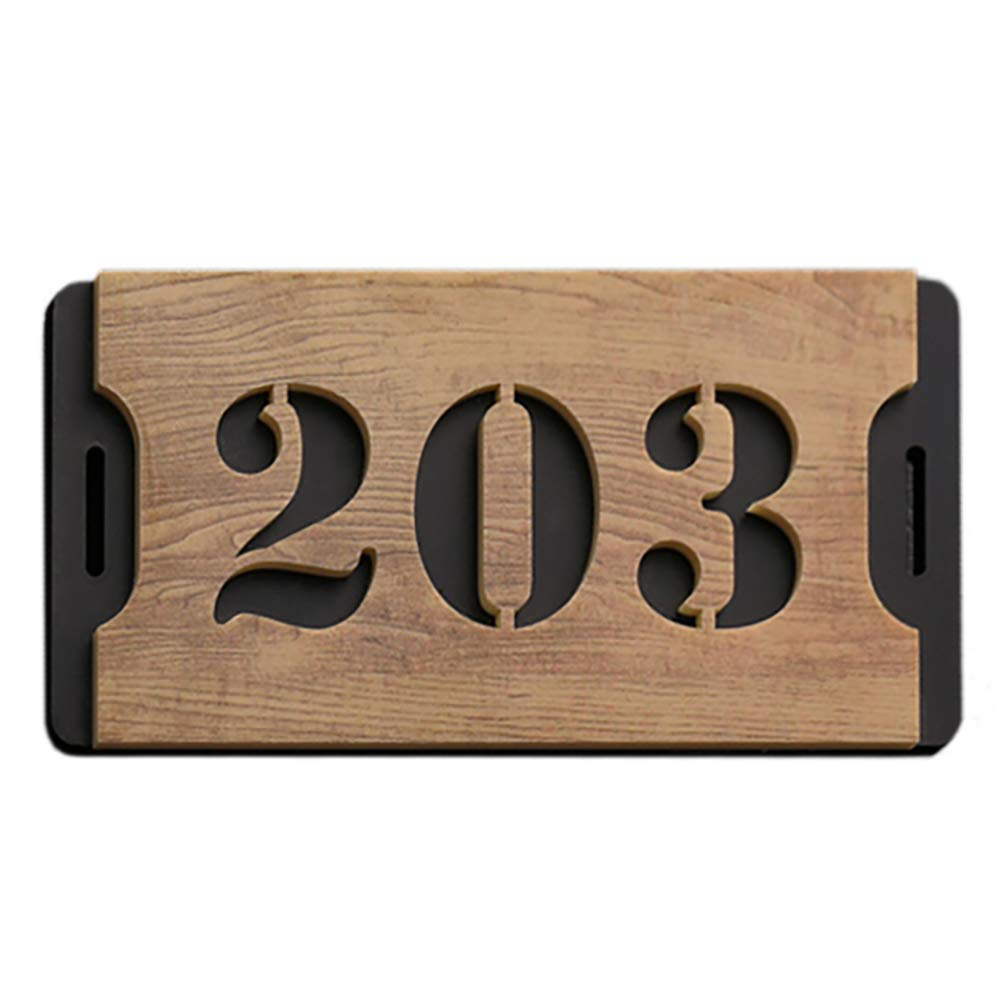 Aspire Customized House Number Address Plaque, Personalized Hotel Apartment Mailbox Sign, Small Size, 4 L x 7.9 W-Woodgrain-4 L x 7.9 W