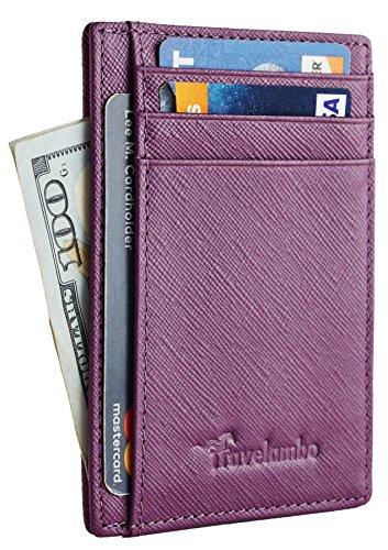 Travelambo Front Pocket Wallet Minimalist Wallets Leather Slim Wallet Money Clip RFID Blocking(crosshatch purple)