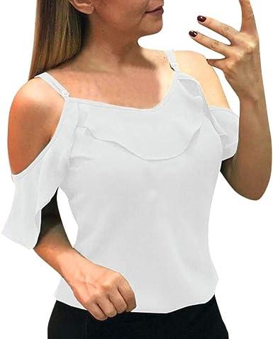 Camiseta Mujer Elegante Sexy Manga Corta Color sólido Hombro sin Tirantes Moda Fiesta Blusa Hoja de Loto Camisa Suelto Verano Camiseta Tops Casual T-Shirt Original vpass: Amazon.es: Ropa y accesorios
