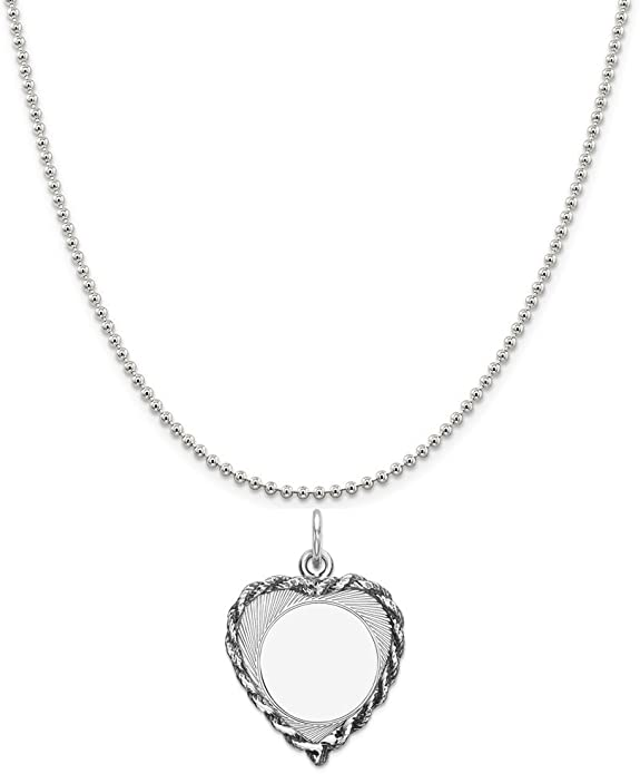 Snake or Ball Chain Necklace Sterling Silver Engravable Heart Polished Disc Charm on a Sterling Silver Cable