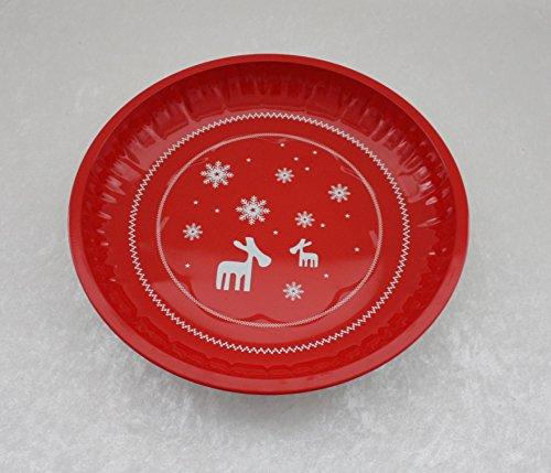 2 Stück GEBÄCKTELLER - RENTIER - rot 25 cm, Metall, Weihnachtsteller Gebäckschalen Knabberteller Weihnachtsmannmütze Weihnachtsfeier Santa Claus Nikolausmütze Zipfelmütze