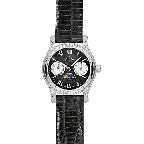 Charmex Granada 6217 31mm Stainless Steel Case Black Calfskin Synthetic Sapphire Women's Watch