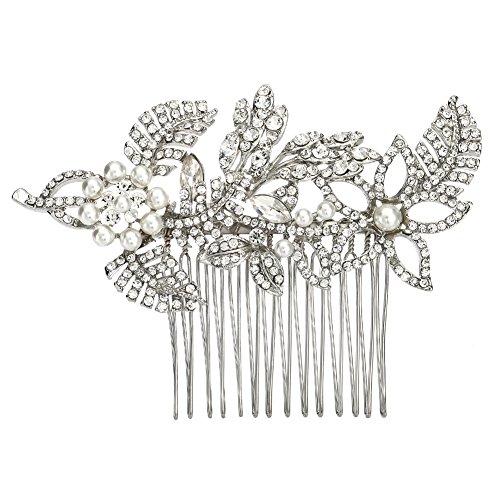 Miallo Hair Comb Bridal Rhinestone Silver Hair Piece Wedding Hair Accessory (Silver)