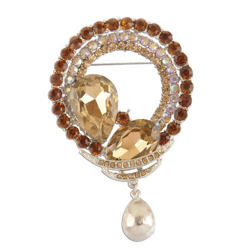 Dangling Crystal Brooch (Circular Topaz Dangling Crystal Brooch)