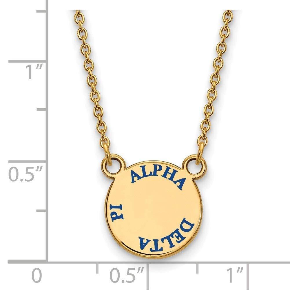 Lex /& Lu LogoArt Gold Plated Sterling Silver Alpha Delta Pi Sm Enamel Pend w//Necklace LAL157524