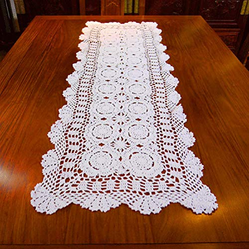 - Damanni Rectangular Cotton Handmade Crochet Lace Table Runner Doilies Table Dresser Scarf Décor,16 Inch by 47 Inch,White