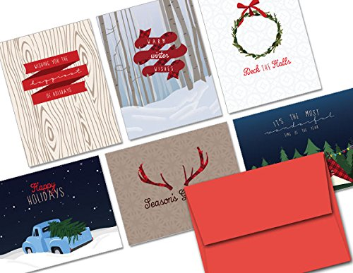 Woodland Holiday - 36 Holiday Cards - 6 Designs - Blank Cards - REd Envelopes Included]()