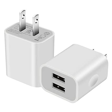 half off 51eff d502f USB Wall Charger 5V/2.1A [2-Pack] Dual USB Home Travel Plug Charger Power  Adapter for iPhone 8/8 Plug, 7/7 Plus, 6s/6s Plus, Samsung Galaxy S7 S6, ...