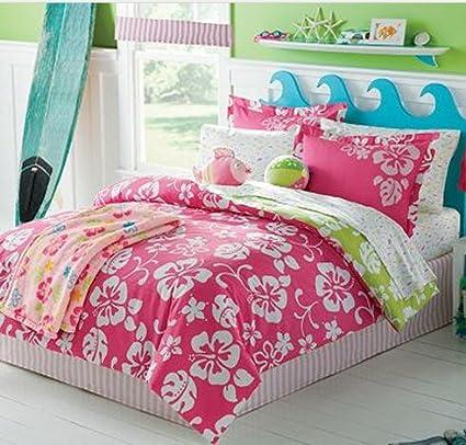 Amazoncom Pink White Hawaiian Hibiscus Girls Twin Comforter Set