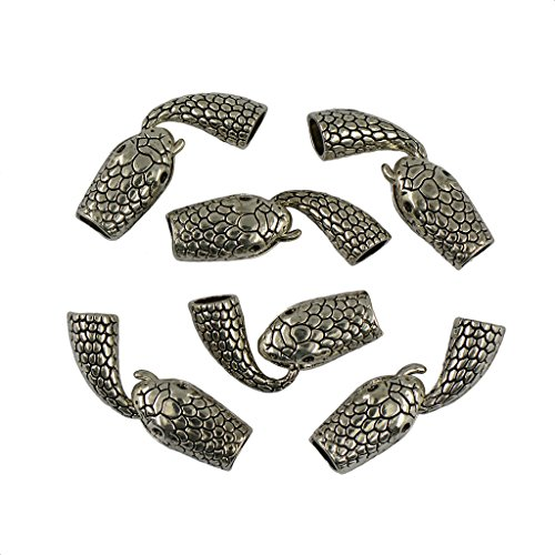 Snake Clasp - Jili Online 6 Sets Tibetan Silver Crafts Snake Head tail Jewelry Findings Toggle Clasps