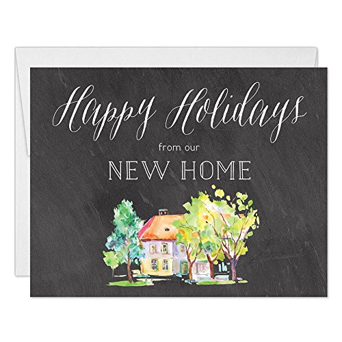 New Home Christmas Greeting Cards with Envelopes (Set of 25) Holiday Season's Greetings to All from Your New Place, 25 Seasonal Folded & Boxed Blank Notecards, Excellent Value by Digibuddha VH0037B