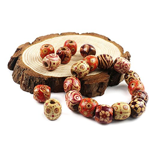 Hand Painted Wood Beads (200 Pieces of Hand Painted Round Wooden Beads for Jewelry Making Such As Macrame Bracelet and DIY Necklace, Arts and Crafts, Hair Accessories and More)