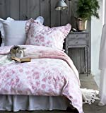 Romantic French Floral Garden Print Ruffle Cotton Duvet Quilt Cover 2 Piece Set Twin Single Rose Pink White