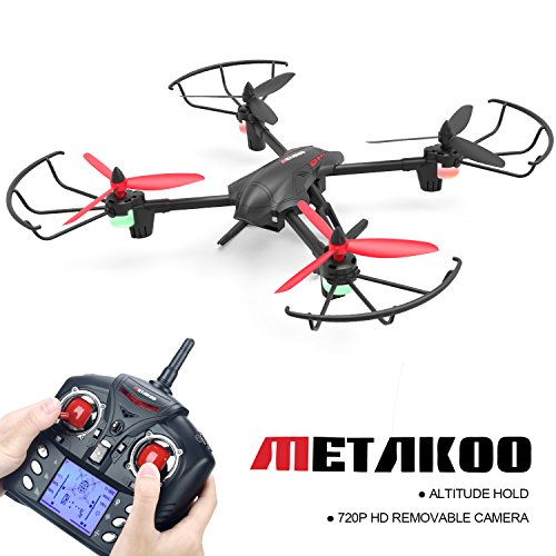 METAKOO Big Drone with Camera Altitude Hold, D1 Quadcopter Drone with 2.0MP HD Camera, 2.4G 4CH 6 Axis Remote Control Helicopter, Headless Mode, 3D Flip Toy Drone for Gift