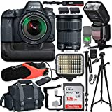 Canon EOS 6D Mark II DSLR Camera w/Canon 24-105mm STM Lens Kit + Pro Photo & Video Accessories Including 128GB Memory, Speedlight TTL Flash, Battery Grip, LED Light, Micorphone, 60