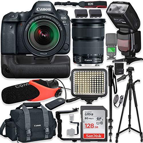 Canon EOS 6D Mark II DSLR Camera w/Canon 24-105mm STM Lens Kit + Pro Photo & Video Accessories Including 128GB Memory, Speedlight TTL Flash, Battery Grip, LED Light, Micorphone, 60″ Tripod & More