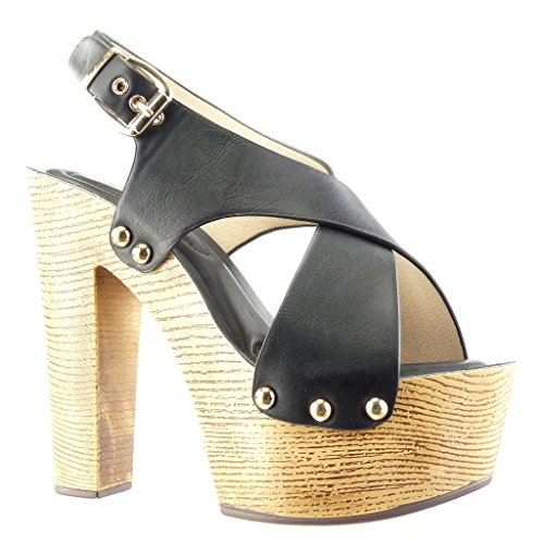 Angkorly - Chaussure Mode Sabot Sandale plateforme femme clouté métallique bois Talon compensé plateforme 14 CM - Noir