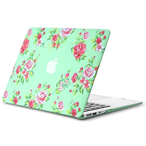Kuzy MacBook Air 13 inch Case A1466 A1369 Soft Touch Cover for Older Version 2017, 2016, 2015 Hard Shell - Vintage Flower Mint