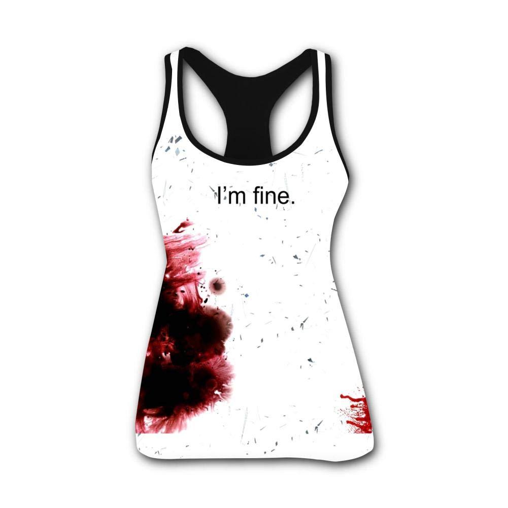 Fenghual Women's Summer Casual Vest Tank Tops I'm Fine Workout Black Border T Shirt Sleeveless Women