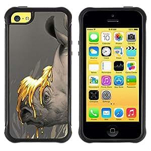 Suave TPU GEL Carcasa Funda Silicona Blando Estuche Caso de protección (para) Apple Iphone 5C / CECELL Phone case / / Earth Save Planet Rhino Gold /