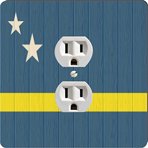 Rikki Knight Curaco Flag on Distressed Wood Design Single Outlet (Dutch Liqueur)