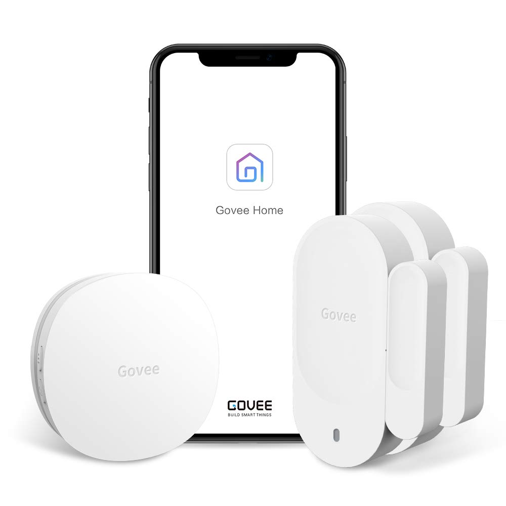 Govee WiFi Door Open Chime, Wireless Home Security Alarm Sensor Works with Amazon Alexa, APP Push and Email Alert Function, 1 Wi-Fi Gateway and 2 Magnetic Door Sensor, No Monthly Fee