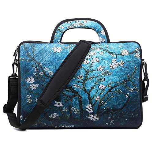 Meffort Inc 15 15.6 inch Water Resistance Neoprene Laptop Macbook Briefcase Bag Carrying Case - Vincent van Gogh Almond Blossom